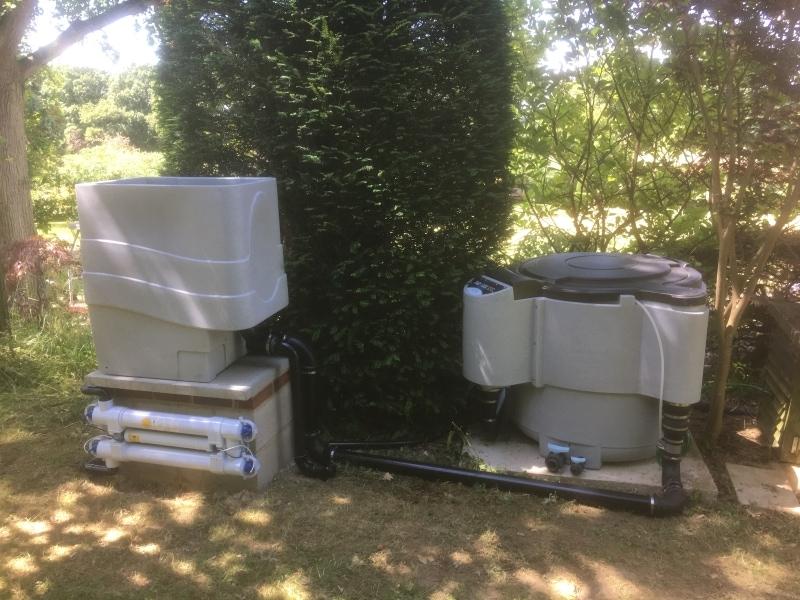 Pond filter during installation